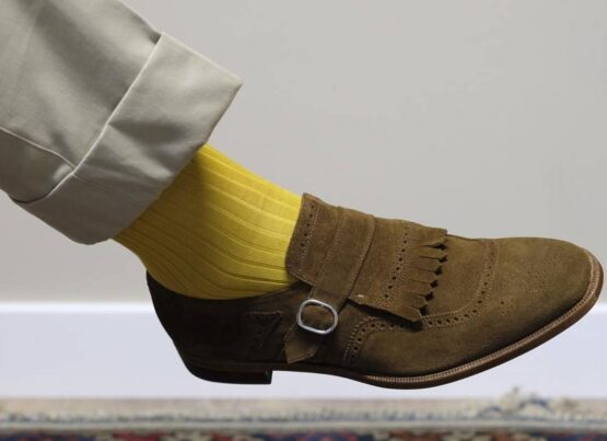 Viccel yellow Blue Over the calf socks Over the knee cotton socks