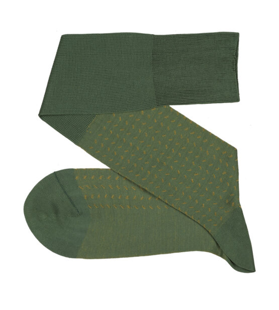 Bird Trace Green Mustard Over The Calf Luxury Socks where to buy direct sale from the socks producer at reasonable prices happy people, happy socks, chaussette fil d'ecosse Homme