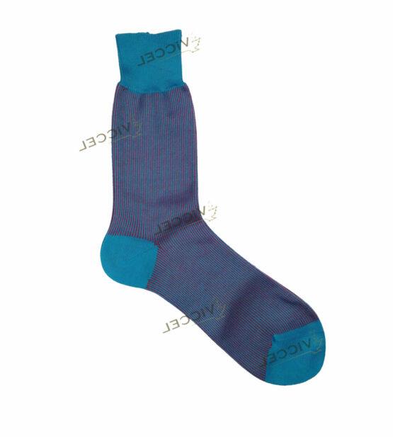 Viccel Socks - Blue Red Vertical Striped Mid Calf