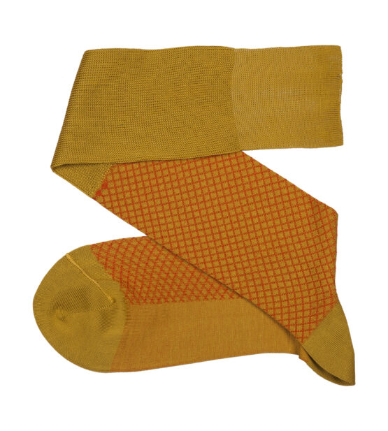 Fish Net Mustard Orange Over The Calf luxury cotton socks buy where to buy direct sale from the socks producer at reasonable prices happy people, happy socks, chaussette fil d'ecosse Homme