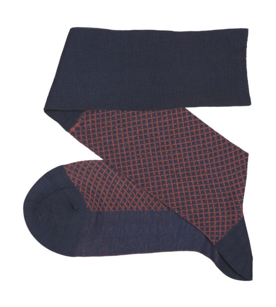 Fish Net Dark Navy Blue Taba Over The Calf luxury cotton socks buy where to buy direct sale from the socks producer at reasonable prices happy people, happy socks, chaussette fil d'ecosse Homme