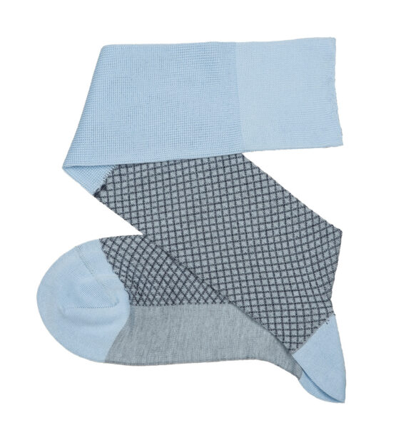Fish Net Sky Blue Navy Blue Over The Calf Luxury Cotton Dress Luxury Socks Buy where to buy direct sale from the socks producer at reasonable prices happy people, happy socks, chaussette fil d'ecosse Homme