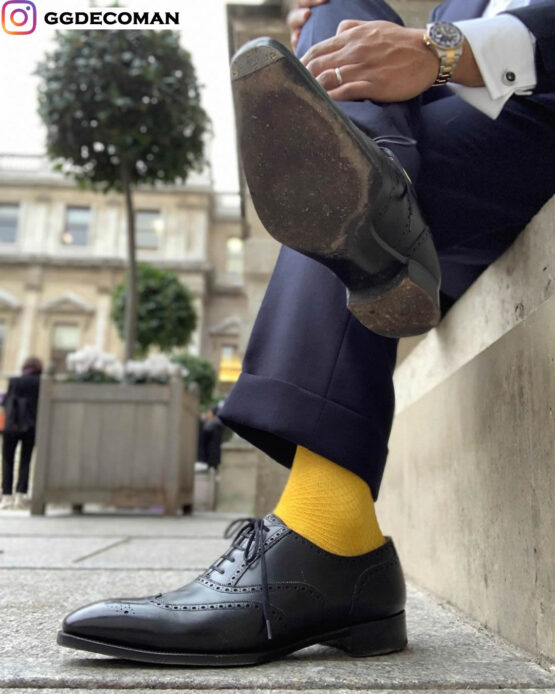 viccel canary yellow fishnet men socks