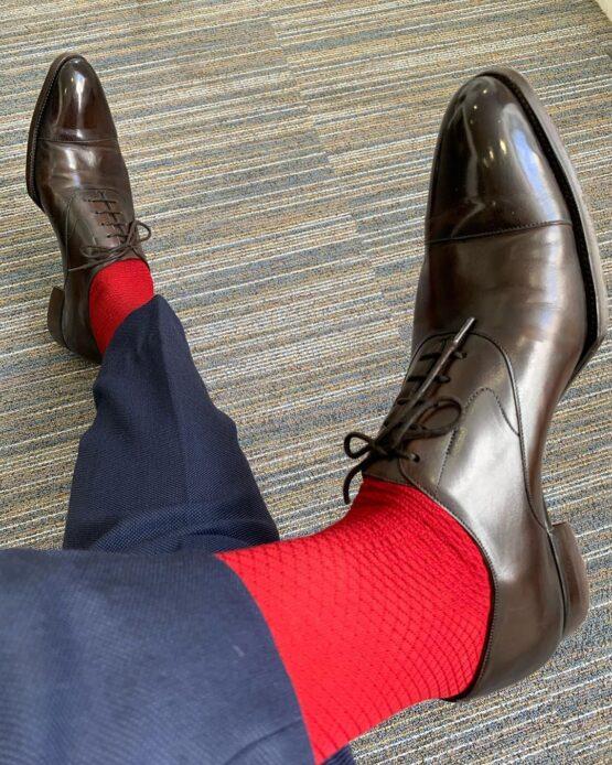 viccel scarlet red fishnet men socks