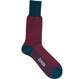 Viccel Sock Petrolium Red Houndstooth Mid Calf Socks