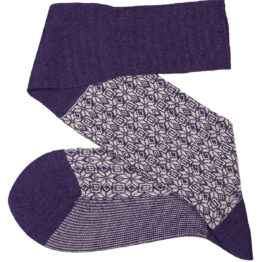 Purple White Snow Flake Over The Calf Wool Silk Socks Buy wool socks