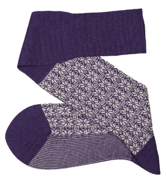 Purple White Snow Flake Over The Calf Wool Silk Socks Buy wool socks