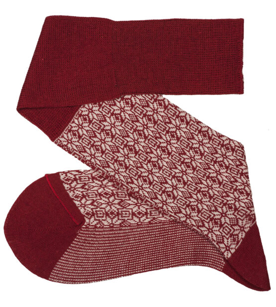 Red White Snow Flake Over The Calf Wool Silk Socks buy wool socks