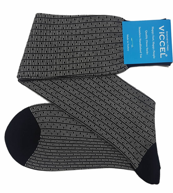 Black Light Gray Vertical Striped and Dots Over the calf mid calf cotton socks buy