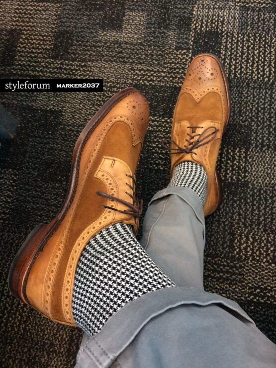 Viccel Socks - Houndstooth Black White Mid calf Cotton socks the photo taken by our client if you are asking where to buy quality mens dress socks as sized at reasonable prices