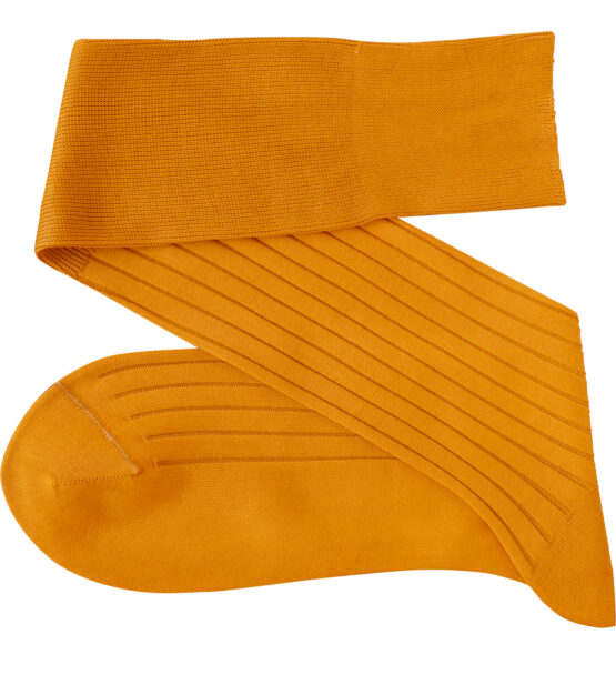 Viccel golden mustard Blue Over the calf socks Over the knee cotton luxury socks