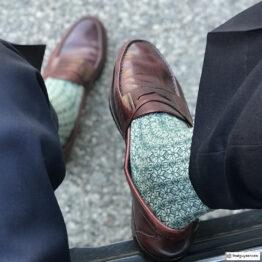 Green White Snow Flake Over the Calf Luxury Wool Silk Sock Buy wool socks