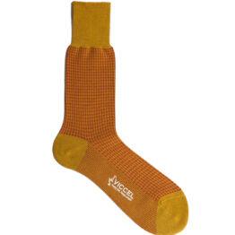 Viccel Socks - Mustard Taba Houndstooth Mid Calf Socks