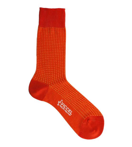 Viccel Socks - Vanisee Orange Yellow Square Dot Mid Calf Socks