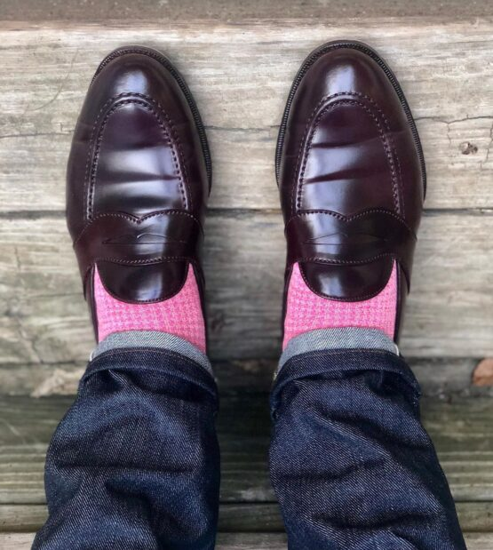 viccel pink light pink houndstooth midcalf luxury socks