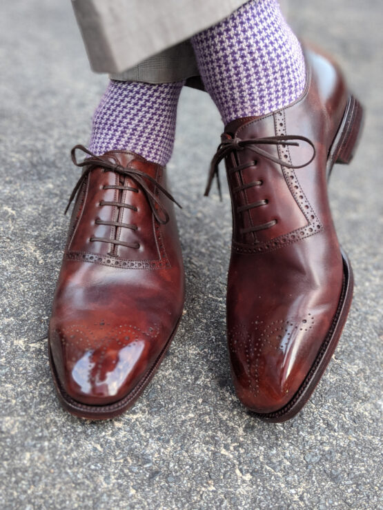 houndstooth purple white wool socks with perfect shoes