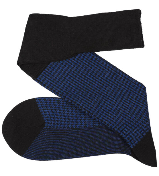Viccel Socks - Black Sax Houndstooth Wool Silk Socks