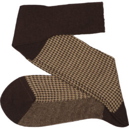 Viccel Socks - Brown Beige Houndstooth Wool Silk Socks