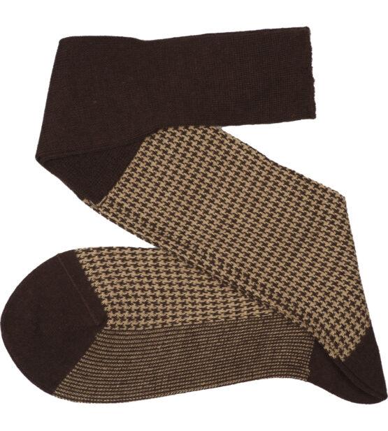 Viccel Socks - Brown Beige Houndstooth Wool Silk Socks