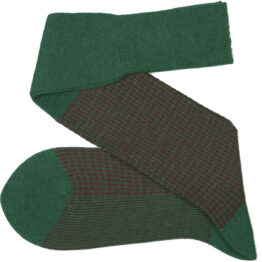 Viccel Socks - Forest Green Burgundy Houndstooth Wool Silk Socks