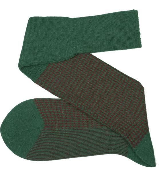 Viccel Socks - Forest Green Burgundy Houndstooth Wool Silk Socks