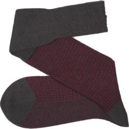 Viccel Socks - Gray Burgundy Houndstooth Wool Silk Socks
