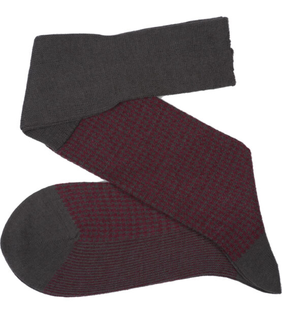 Viccel Socks - Gray Burgundy Houndstooth Wool Silk Socks