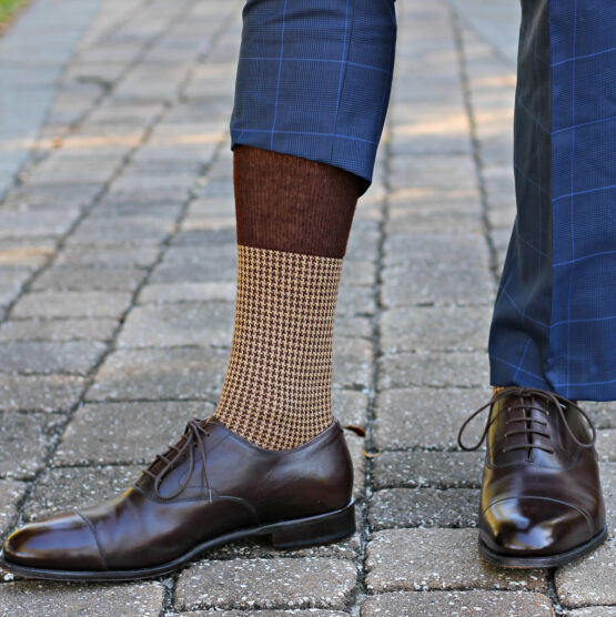 Brown Beige Houndstooth Merino Wool Silk Socks the photo taken by our client if you are asking where to but quality socks at reasonable prices