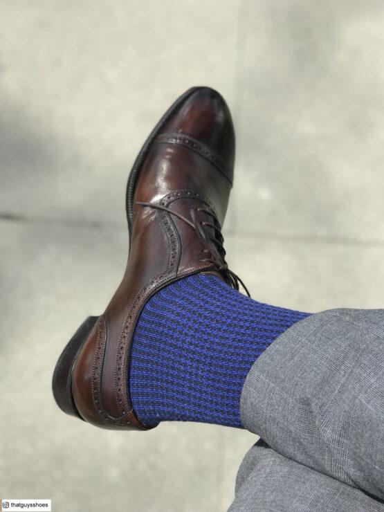 Viccel Wool Silk Black Sax Houndstooth winter socks luxury socks dress socks buy socks