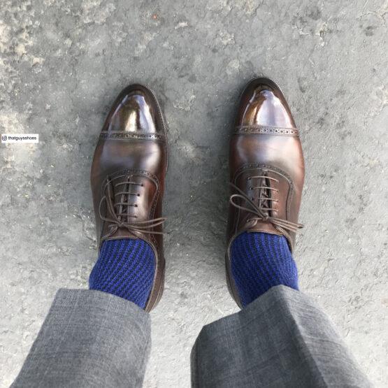 Viccel Wool Silk Black Sax Houndstooth winter socks luxury socks dress socks buy sized socks