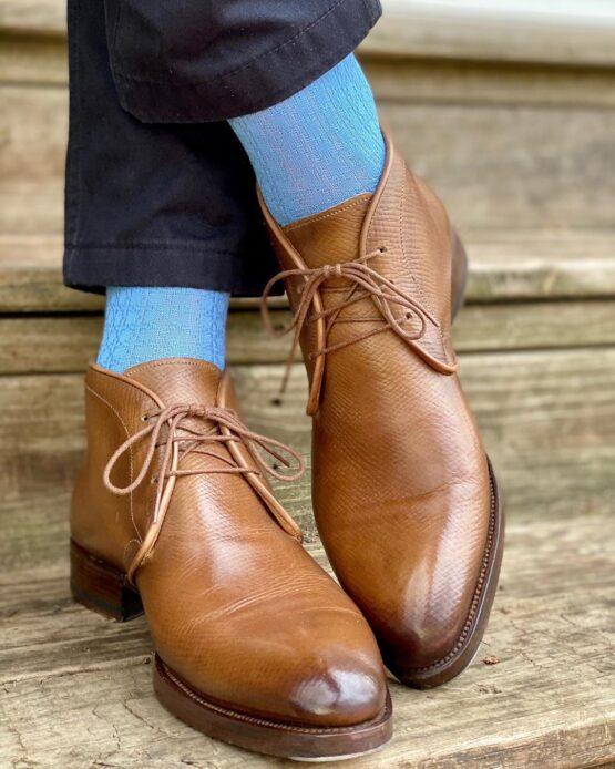 viccel sky blue textured cotton socks