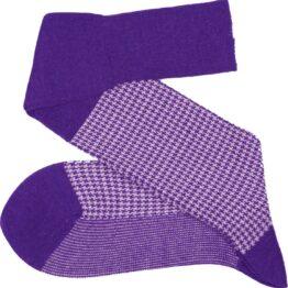 Purple white houndstooth wool winter socks
