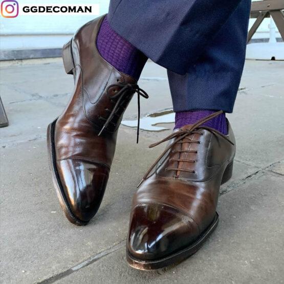 viccel purple fishnet men socks