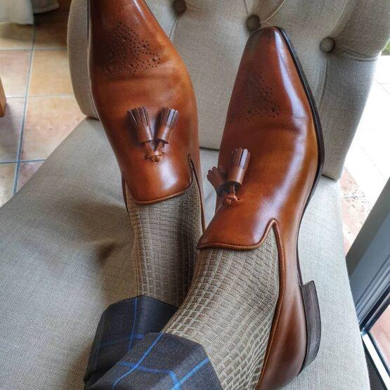 viccel brick tan cotton socks