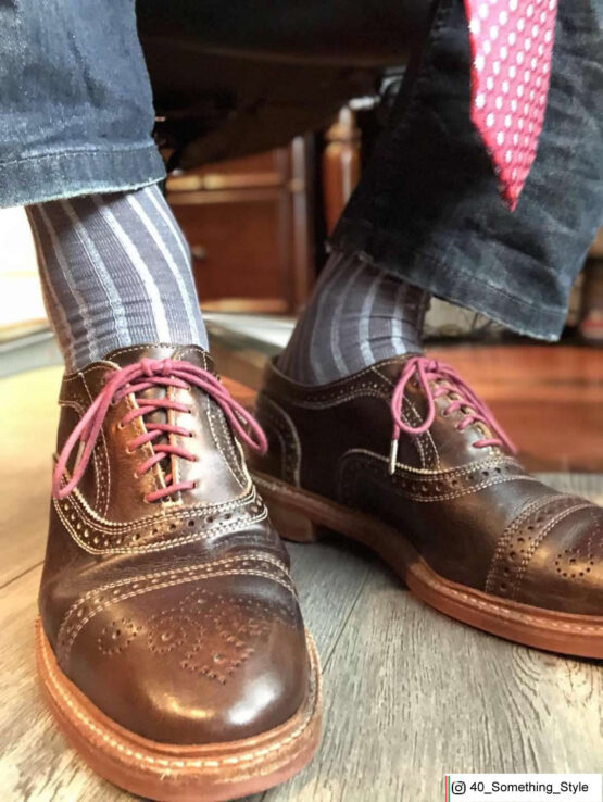 Gray Sky Blue Shadow Stripe Over The Calf Luxury Cotton Socks Buy socks luxury socks