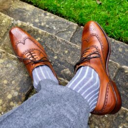 Gray Sky Blue Shadow Stripe Over The Calf Luxury Cotton Socks Buy socks