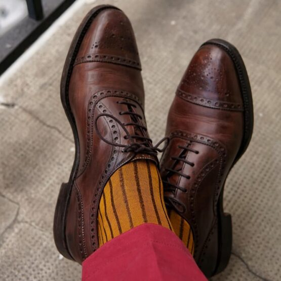 viccel mustard brown shadow over the calf socks gift for him luxury socks