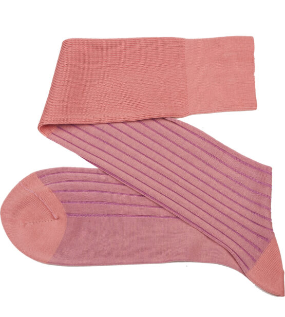 viccel Luxury cotton socks Salmon Lilac Over The Calf Shadow Socks