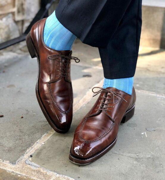 viccel sky blue textured daimond luxury socks dress socks