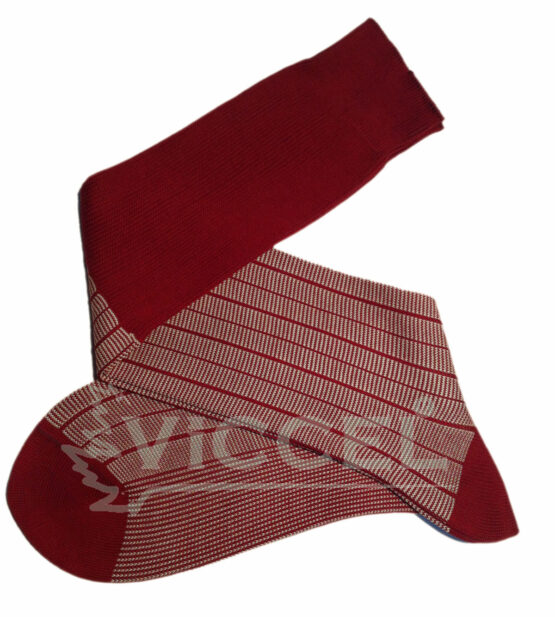 Red White Striped Over the Calf luxury Cotton socks