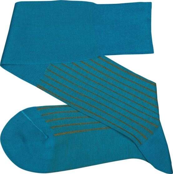Viccel Socks - Turquoise Mustard Shadow Striped Cotton Socks where to buy direct sale from the socks producer at reasonable prices happy people, happy socks, chaussette fil d'ecosse Homme