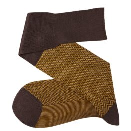 Brown Mustard over the calf herringbone cotton socks luxury socks dress socks casual socks over the calf over the knee