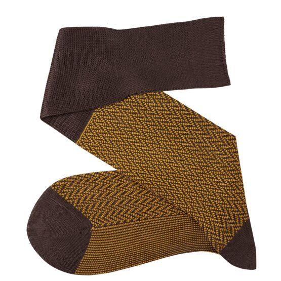 Brown Mustard over the calf herringbone cotton socks luxury socks dress socks casual socks over the calf over the knee