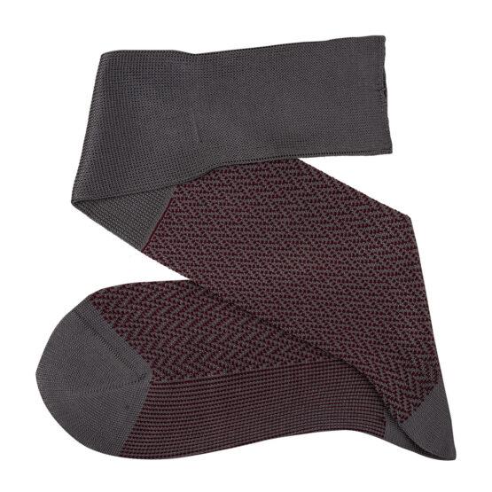 Gray Burgundy over the calf herringbone cotton socks luxury socks dress socks casual socks over the calf over the knee