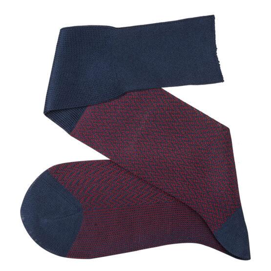 Navy Blue Burgundy blue over the calf herringbone cotton socks luxury socks dress socks casual socks over the calf over the knee