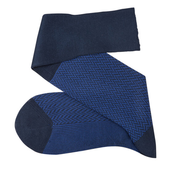 Navy Blue Royal blue over the calf herringbone cotton socks luxury socks dress socks casual socks over the calf over the knee