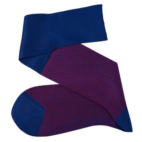 Royal blue Red over the calf herringbone cotton socks luxury socks dress socks casual socks over the calf over the knee