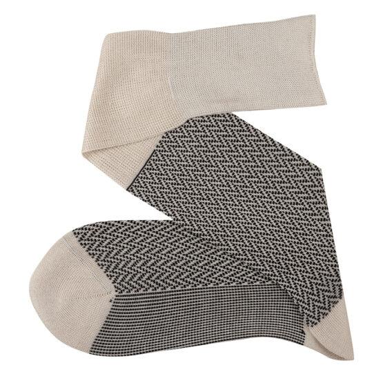 raw black ecru over the calf herringbone cotton socks luxury socks dress socks casual socks over the calf over the knee