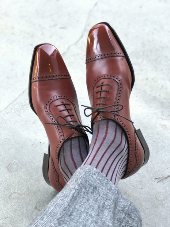 gray burgundy shadow cotton over the calf socks luxury socks cotton socks fashion socks