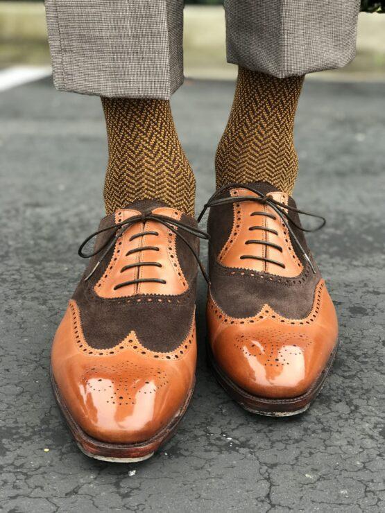 Brown mustard herringbone chevron cotton socks egyptian cotton luxury socks over the calf socks over the knee sockd